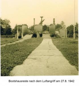 Die Reste des Bootshauses im Jahre 1942
